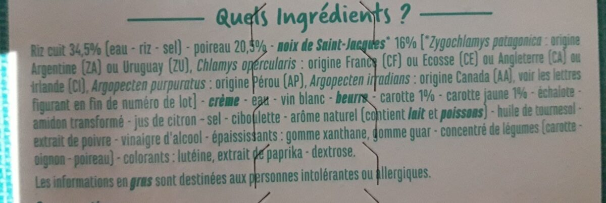 Noix de Saint-Jacques* riz et petits légumes - Ingredients