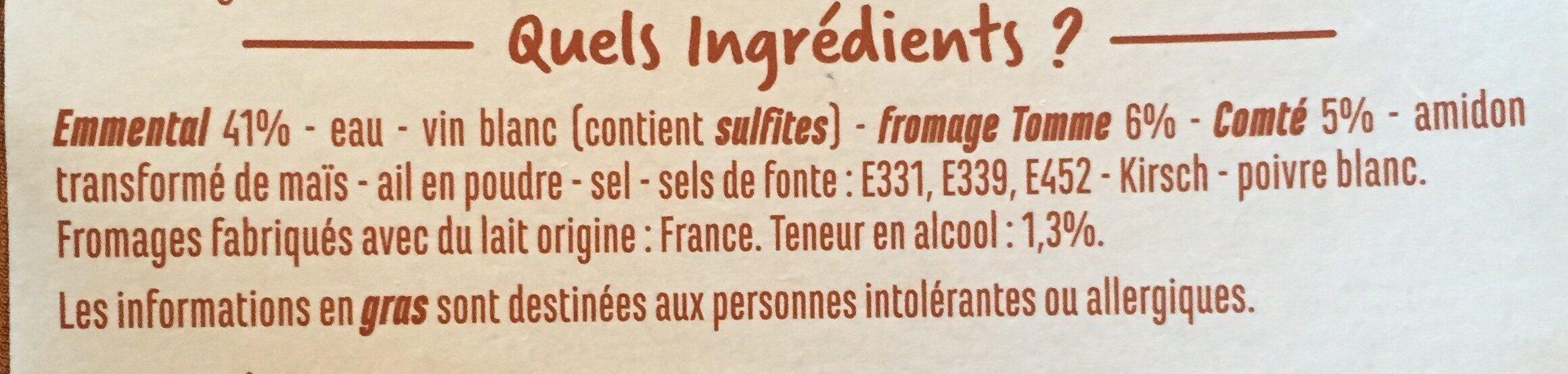 Fondue aux 3 Fromages - Ingrédients