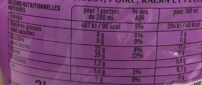 100% Pur Jus Fruits du Verger - Pomme, Abricot, poire, Raisin, Pêche - Nutrition facts