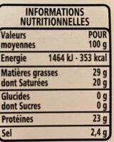 Gouda - 8 tranches environ - Voedingswaarden - fr