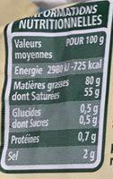 Beurre moulé demi sel BIO - Nutrition facts - fr