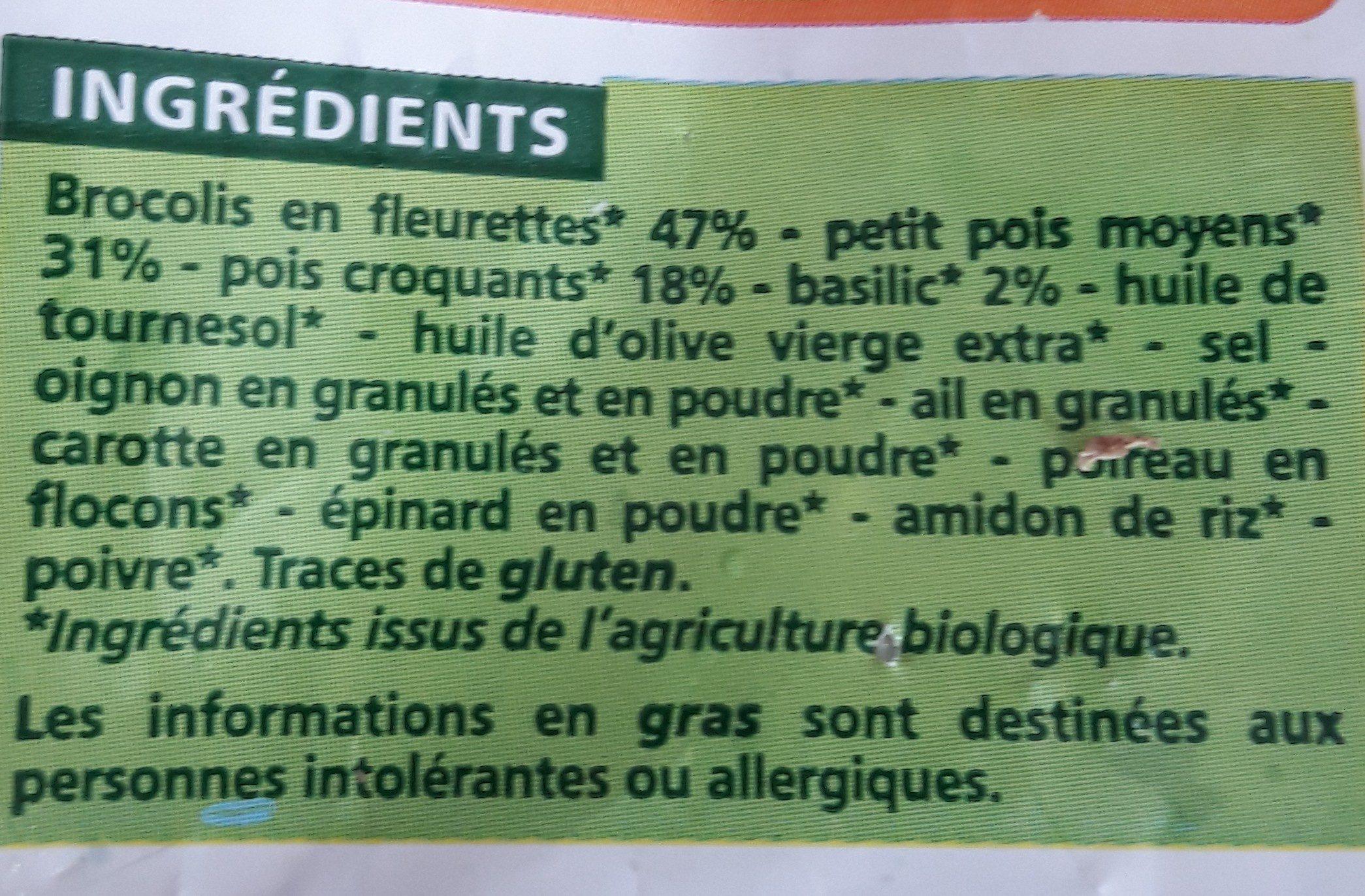 Mélange de légumes verts Bio - Brocolis, petits pois, pois croquants - Ingrediënten