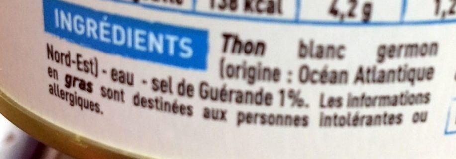 Thon blanc Germon au naturel au sel de Guérande - Ingrediënten - fr