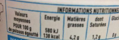 Thon blanc Germon au naturel au sel de Guérande - Voedingswaarden - fr