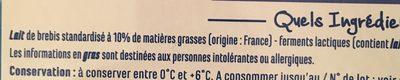 Yaourt nature à la Grecque au Lait de Brebis - Ingrediënten - fr