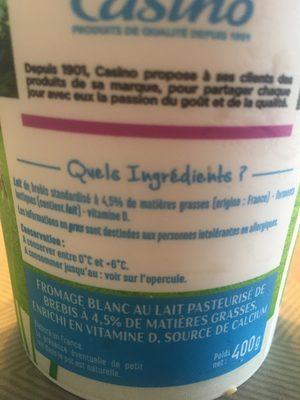 Fromage blanc au lait de Brebis - Ingredients