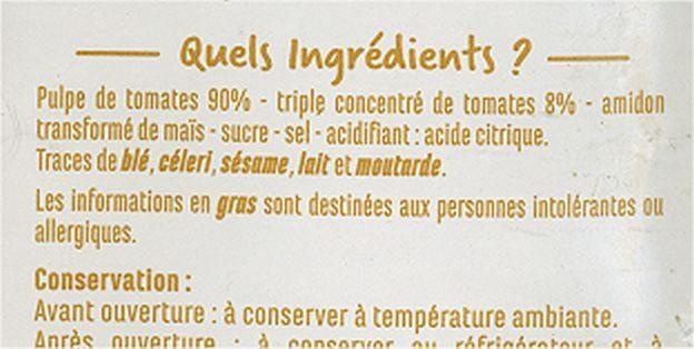 Chair de tomates nature - Ingredientes