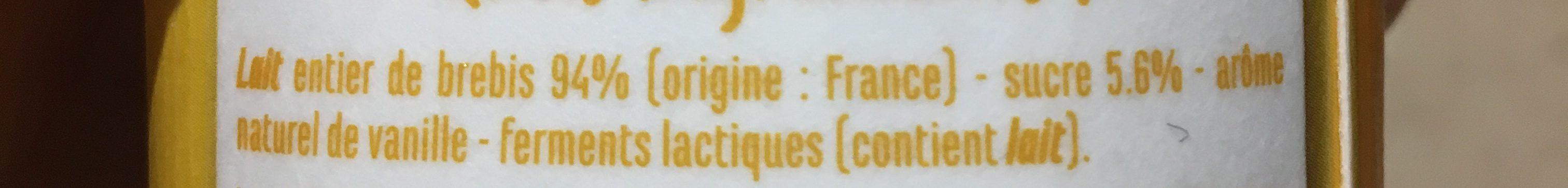 Yaourt au lait de brebis à la vanille - Ingredients