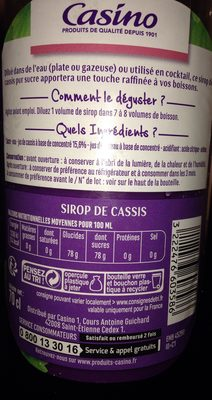 Sirop de cassis pur sucre - Ingredients
