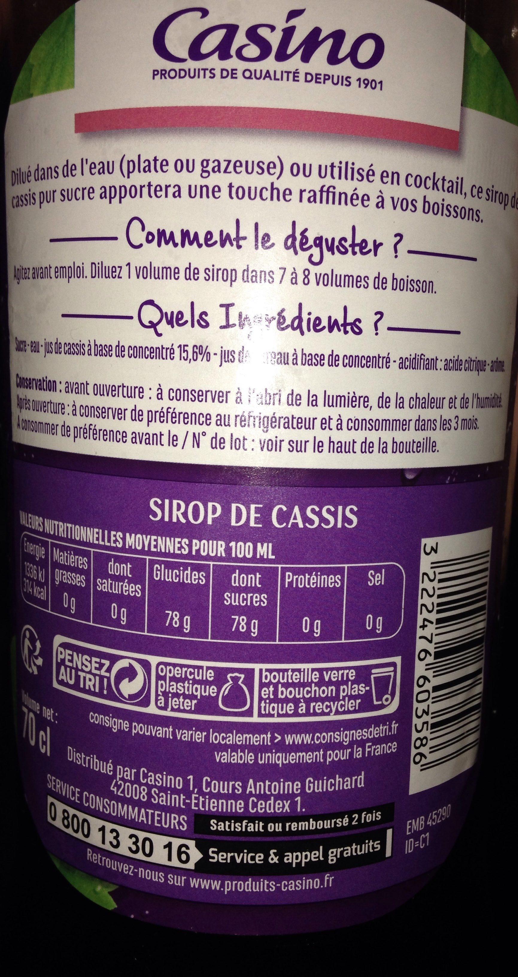 Sirop de cassis pur sucre - Ingrediënten - fr