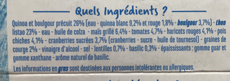 Salade de Thon (Thon, Quinoa, Boulgour) - Ingredients