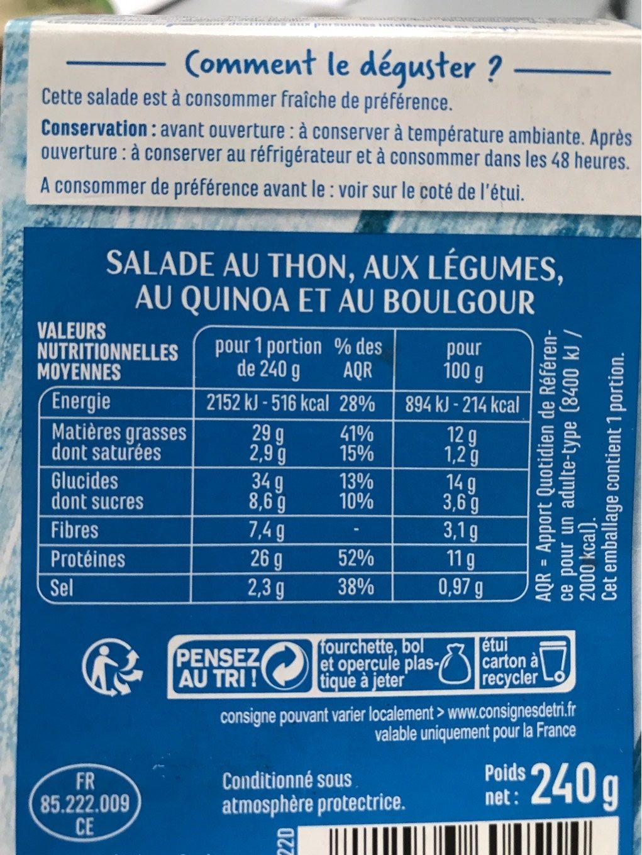 Salade de Thon (Thon, Quinoa, Boulgour) - Nutrition facts