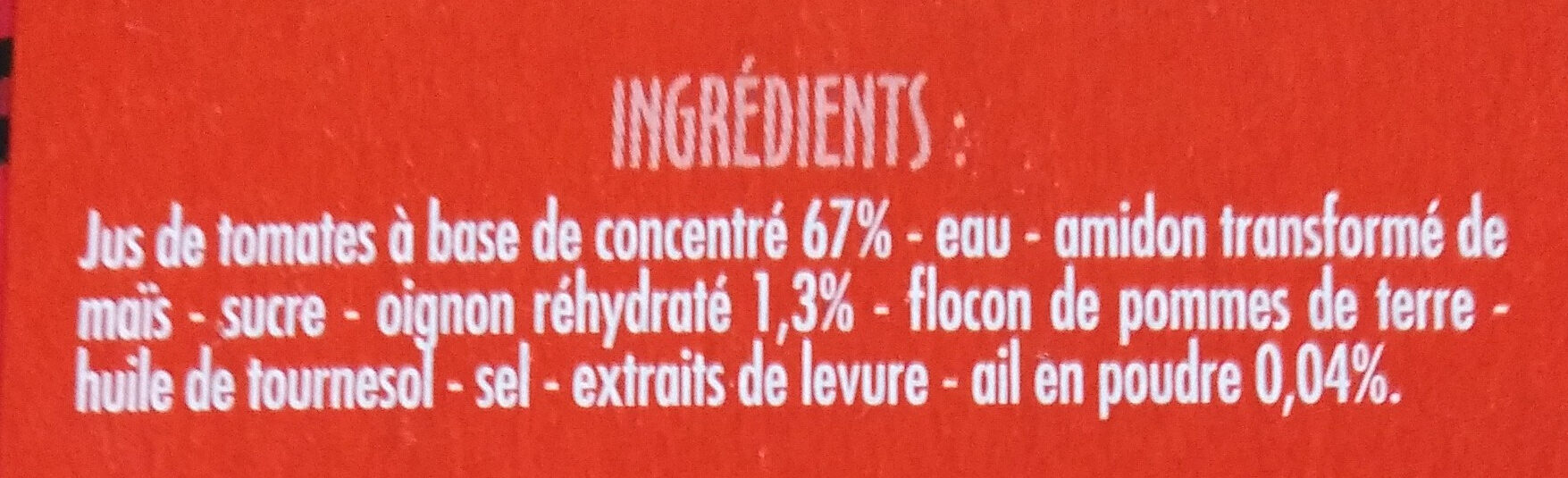 Velouté de tomates - Ingrédients - fr