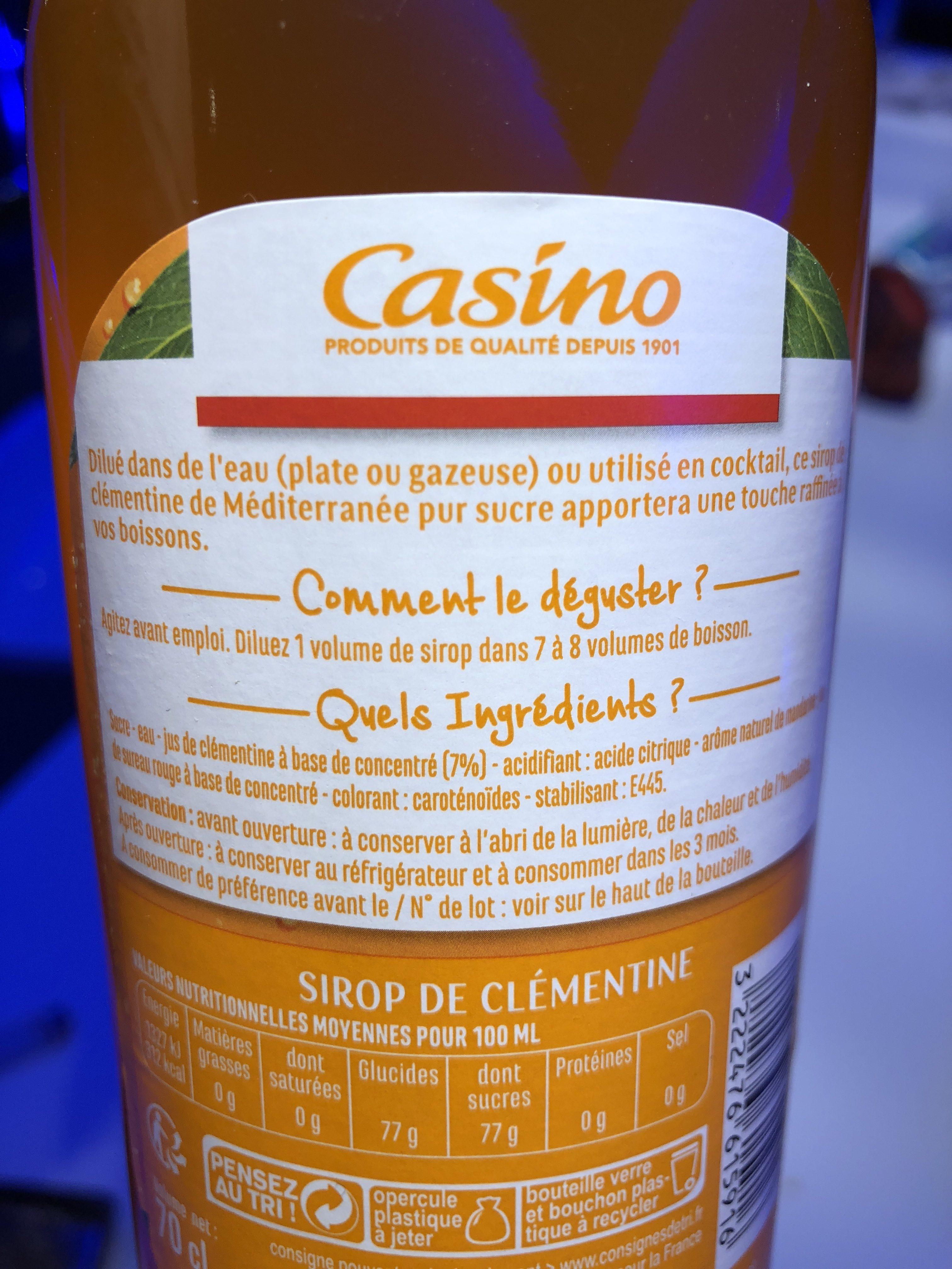 Sirop de clémentine pur sucre - Ingrediënten - fr