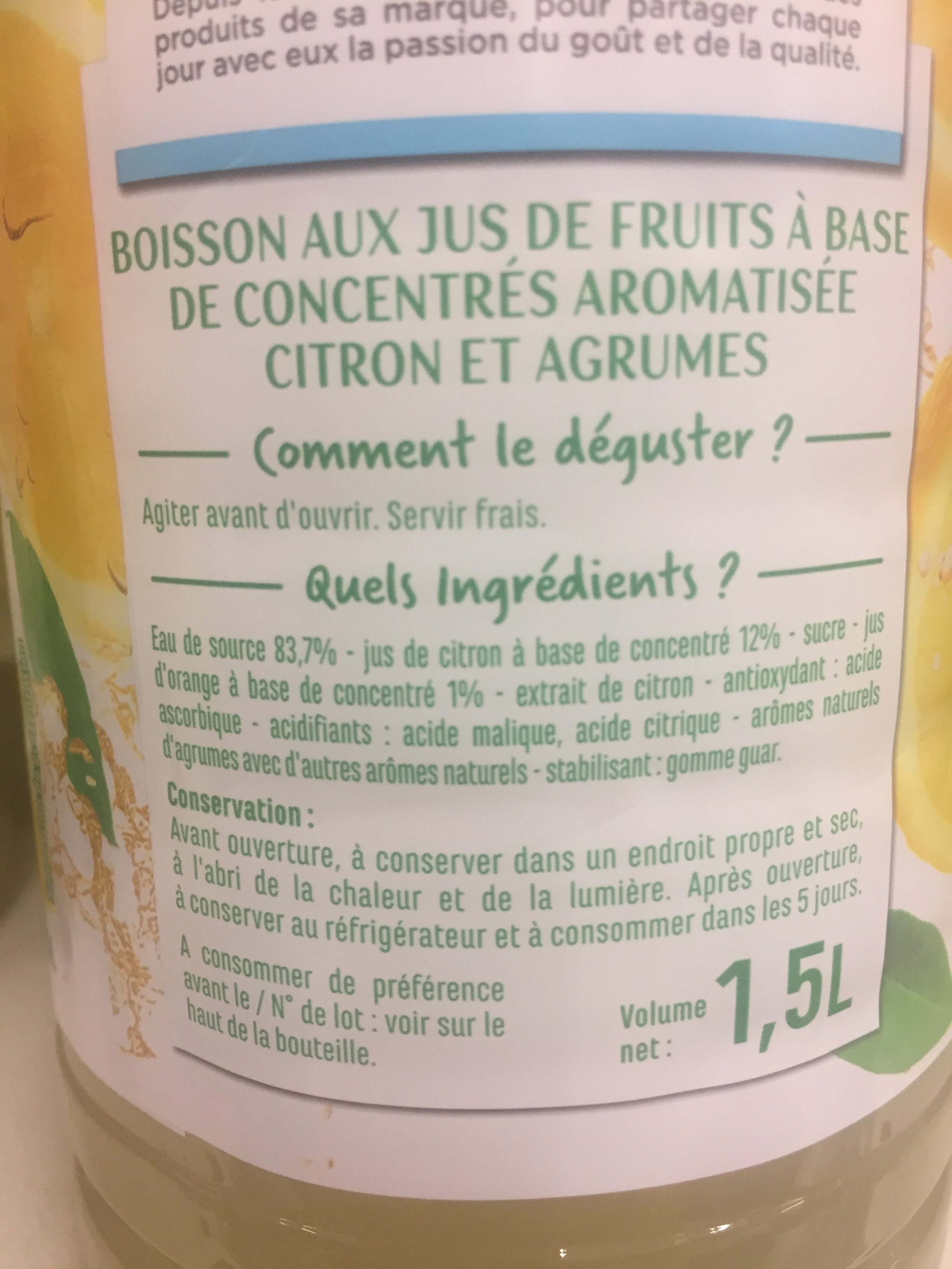 Citronnade - à l'eau de source - Ingredients
