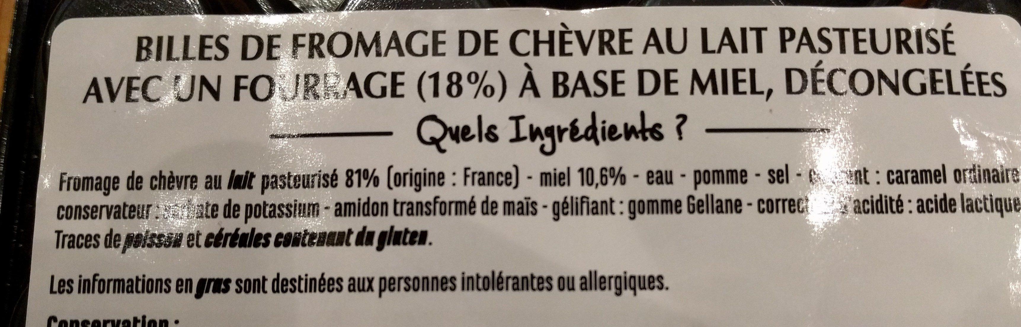 Billes de chèvre coeur au miel - Ingrediënten