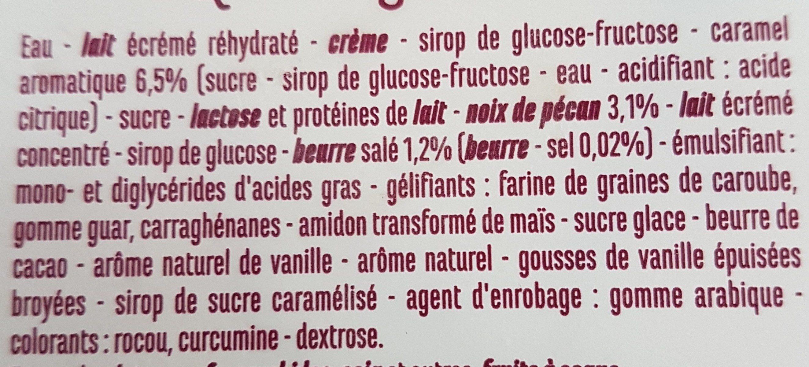 Vanillé Pécan sauce caramel au beurre salé & éclats de noix de pécan caramélisés - Ingredients