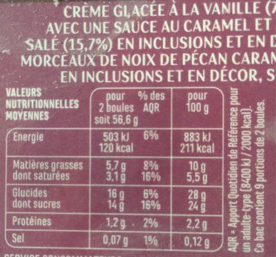 Vanillé Pécan sauce caramel au beurre salé & éclats de noix de pécan caramélisés - Nutrition facts