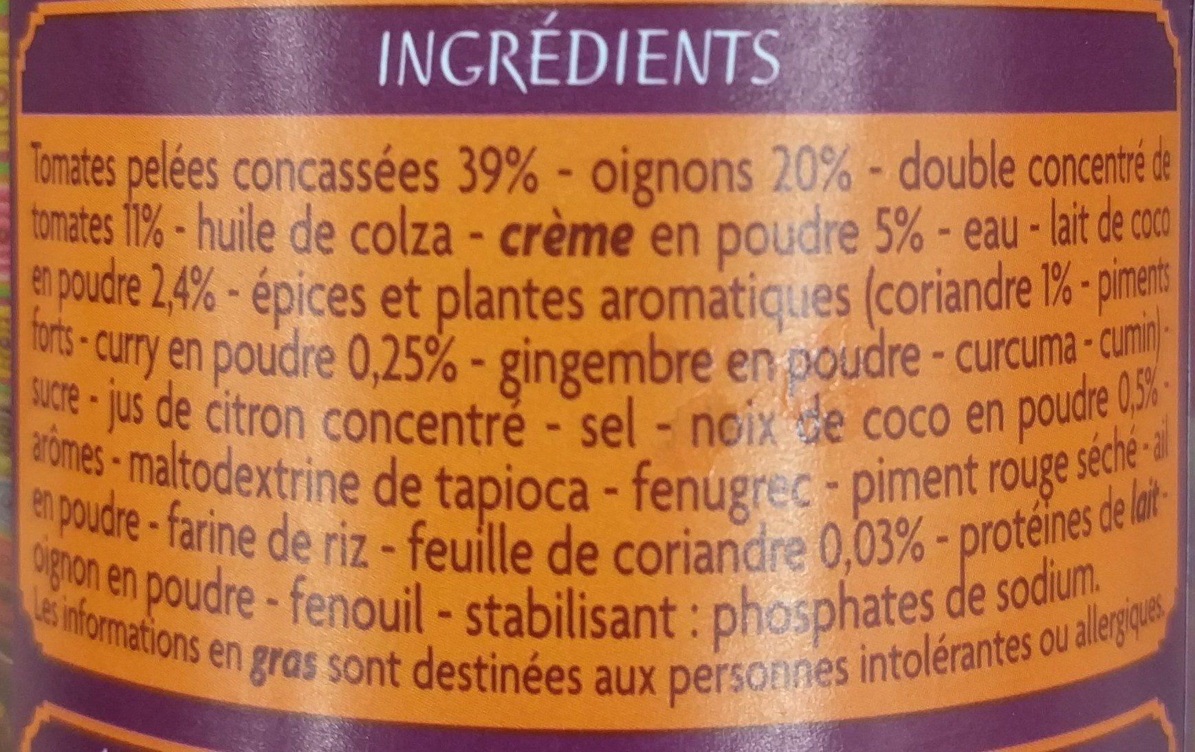 Sauce tikka massala - Ingrédients - fr