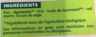 Boisson Epeautre BIO - Ingrédients - fr