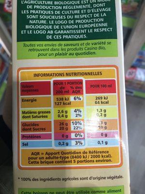 Boisson Epeautre BIO - Informations nutritionnelles - fr
