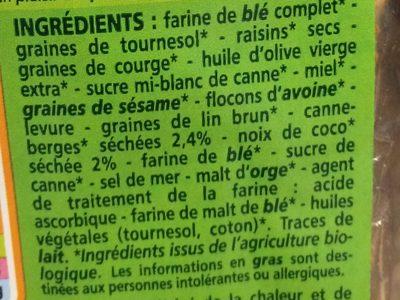 Crackers Cranberries Coco Bio - Ingredientes
