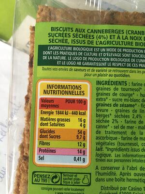 Crackers Cranberries Coco Bio - Información nutricional