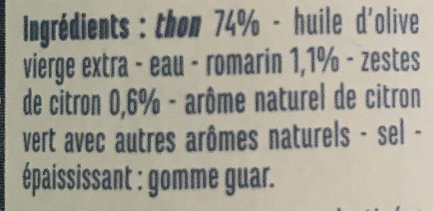 Emietté de thon mariné citron romarin - Ingrédients