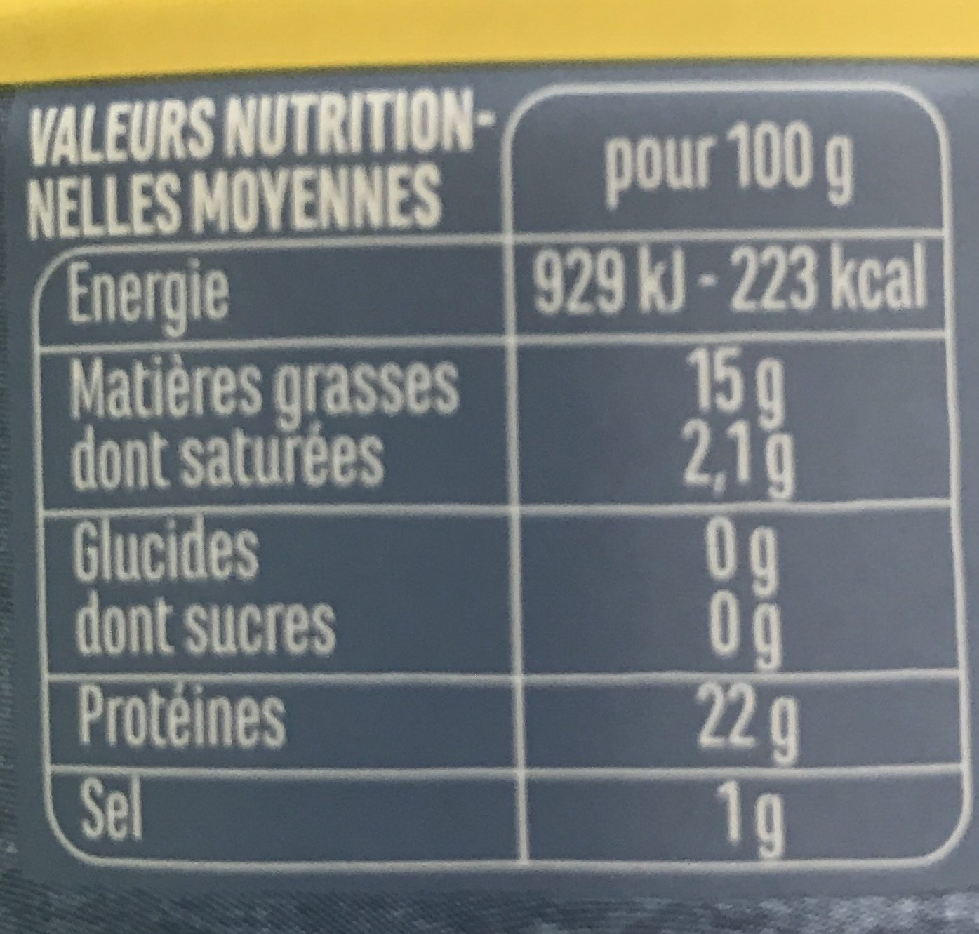 Emietté de thon mariné citron romarin - Informations nutritionnelles