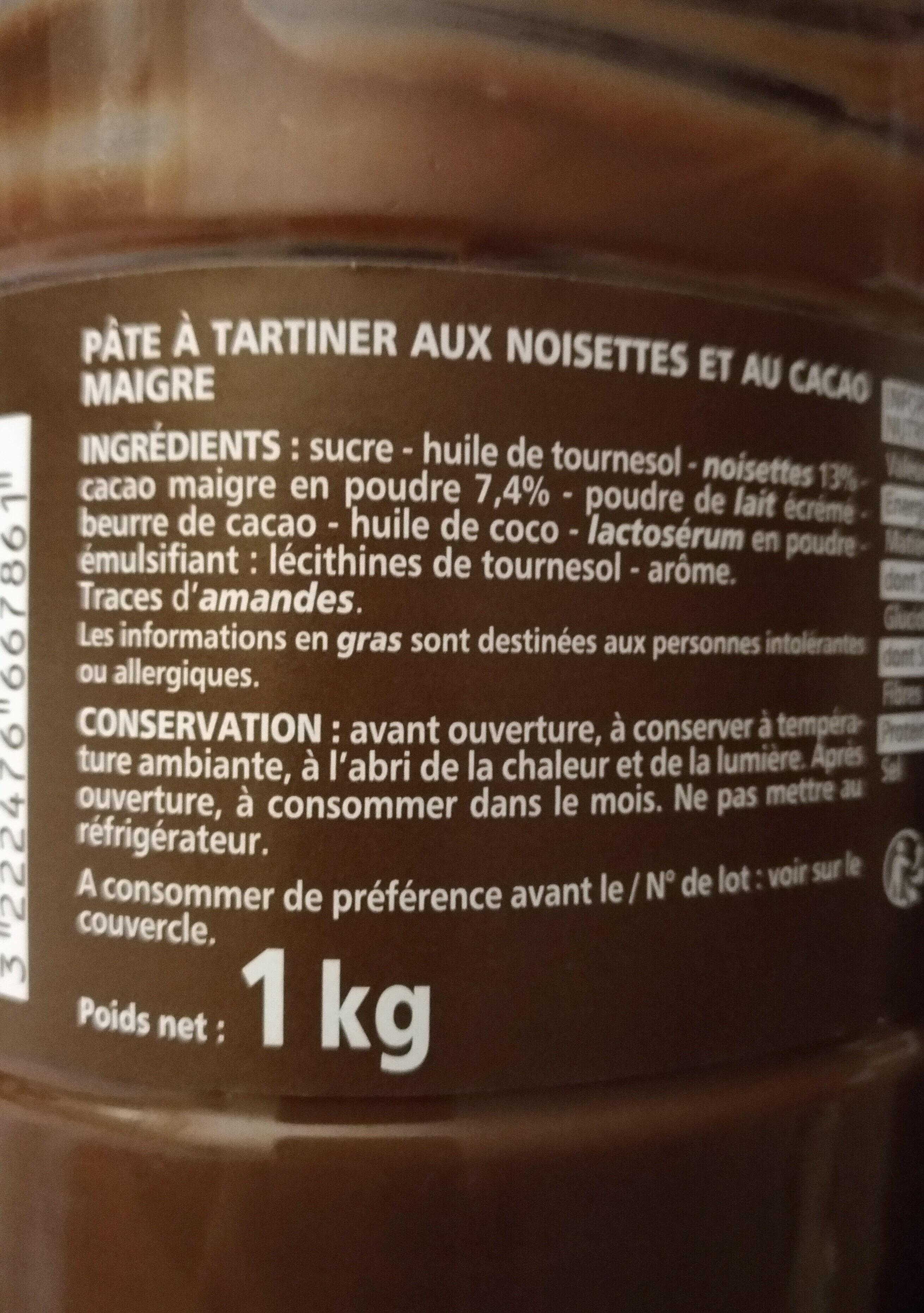 Je suis Noisette la première pâte à tartiner sans huile de palme - Ingredients - fr