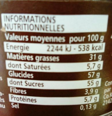 Je suis Noisette la première pâte à tartiner sans huile de palme - Nutrition facts - fr