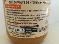 Miel de fleur de provence - Voedigswaarden