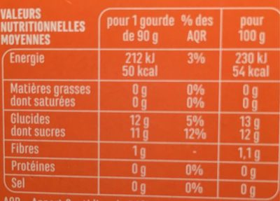 Spécialité de fruits Pomme Mirabelle sans sucres ajoutés (contient des sucres naturellement présents dans les fruits) - Nutrition facts
