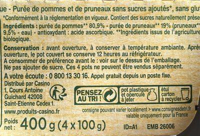 Pomme pruneau BIO, sans morceaux - Informations nutritionnelles