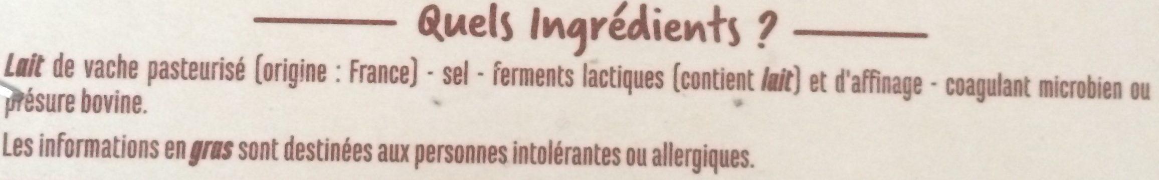 Le Rural - Camembert de caractère - Ingredients