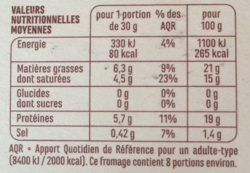 Le Rural - Camembert de caractère - Nutrition facts