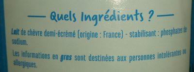 Lait de chèvre demi-écrémé - Ingrediënten