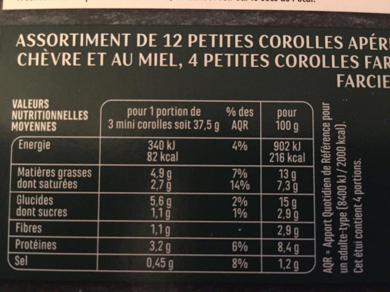 12 Mini corolles - Fromage de chèvre & miel, légumes d'été & parmesan, fromage frais & basilic - Ingrediënten - fr