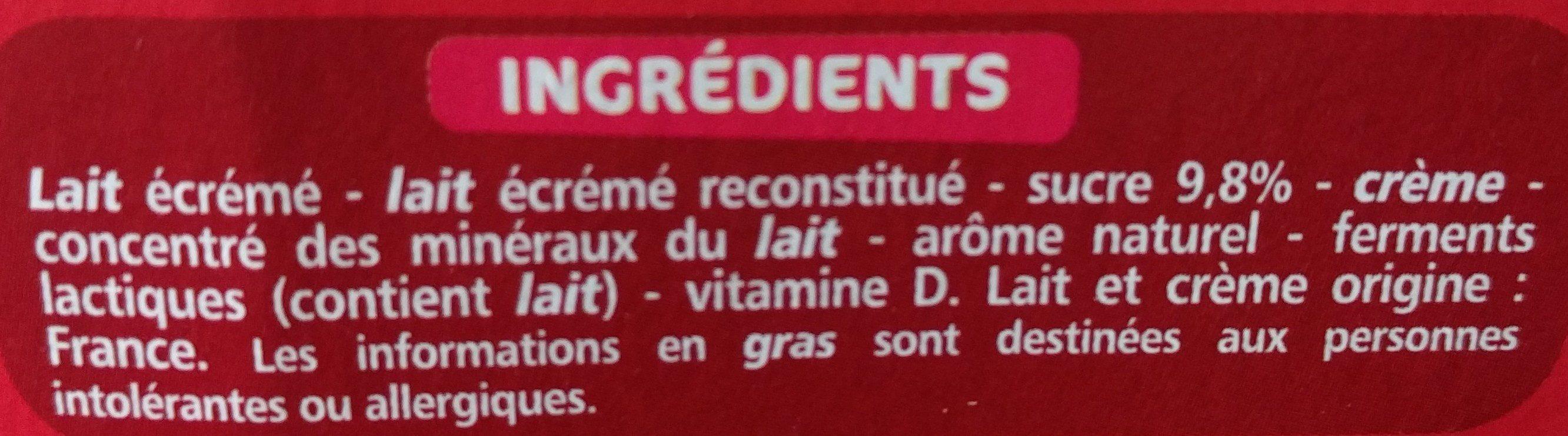 Mini yaourts à boire saveur fraise - Ingredients