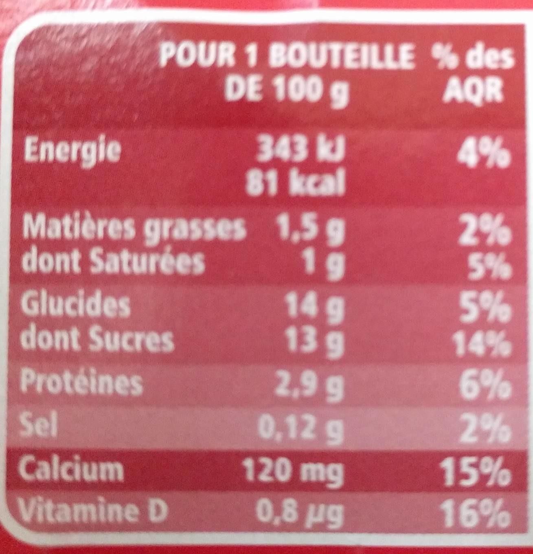 Mini yaourts à boire saveur fraise - Nutrition facts