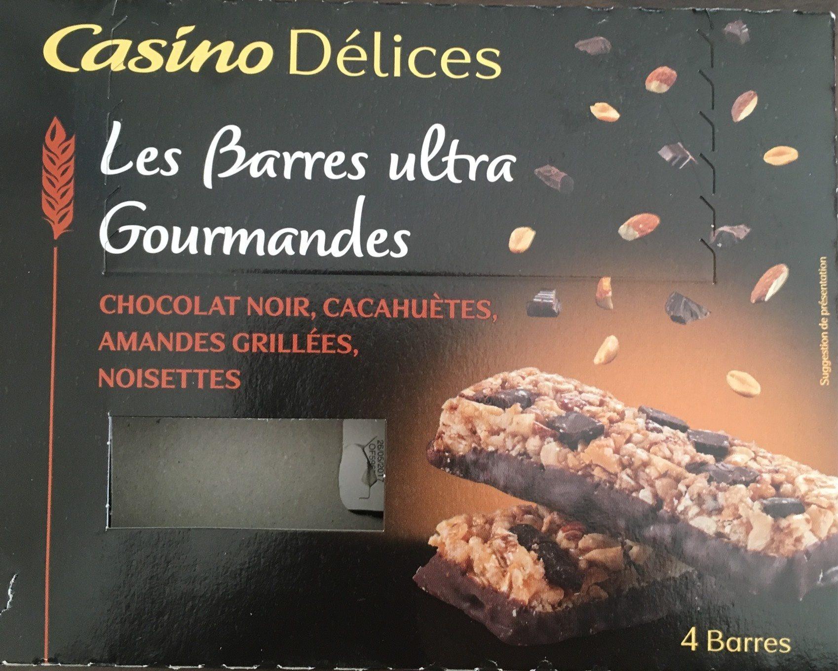 Barres ultra gourmandes Chocolat Noir, cacahuètes, amandes grillées, noisettes Casino - Product - fr