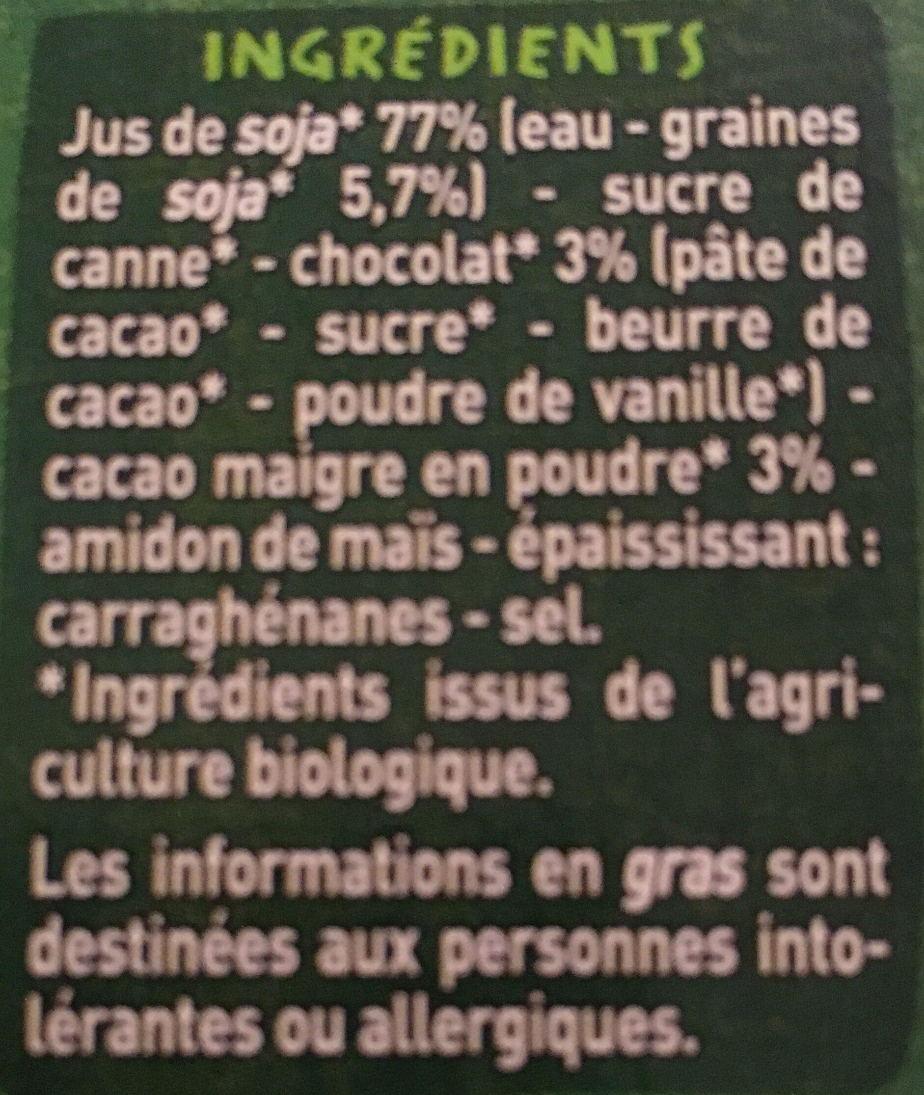Spécialité au soja chocolat BIO - Ingrédients - fr