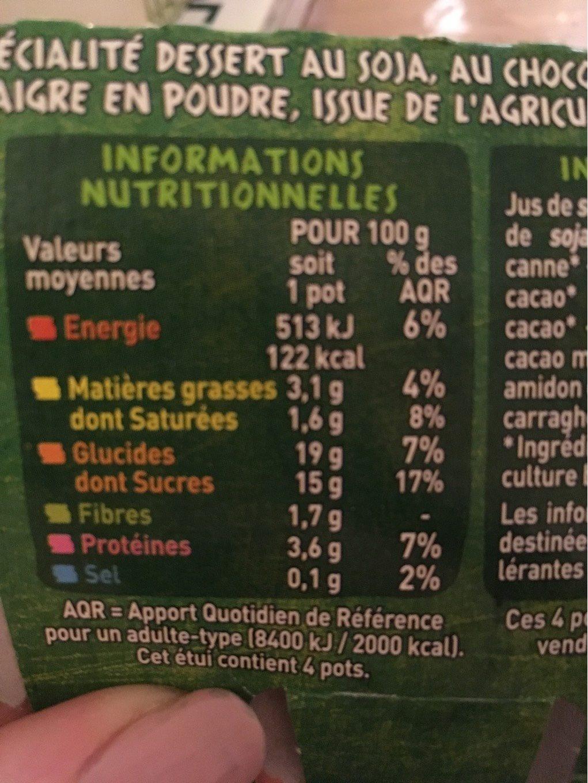 Spécialité au soja chocolat BIO - Informations nutritionnelles - fr