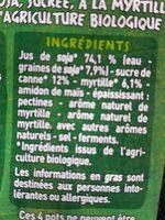 Spécialité au soja myrtilles BIO - Ingredienti - fr