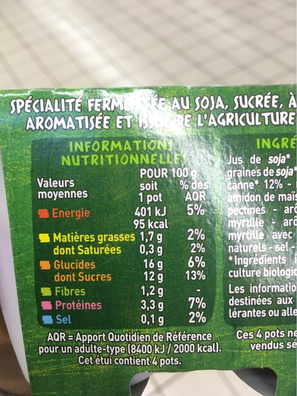 Spécialité au soja myrtilles BIO - Valori nutrizionali - fr