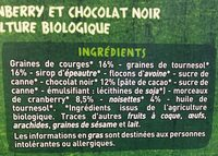 Barres Cranberry chocolat noir Casino Bio - Ingredients