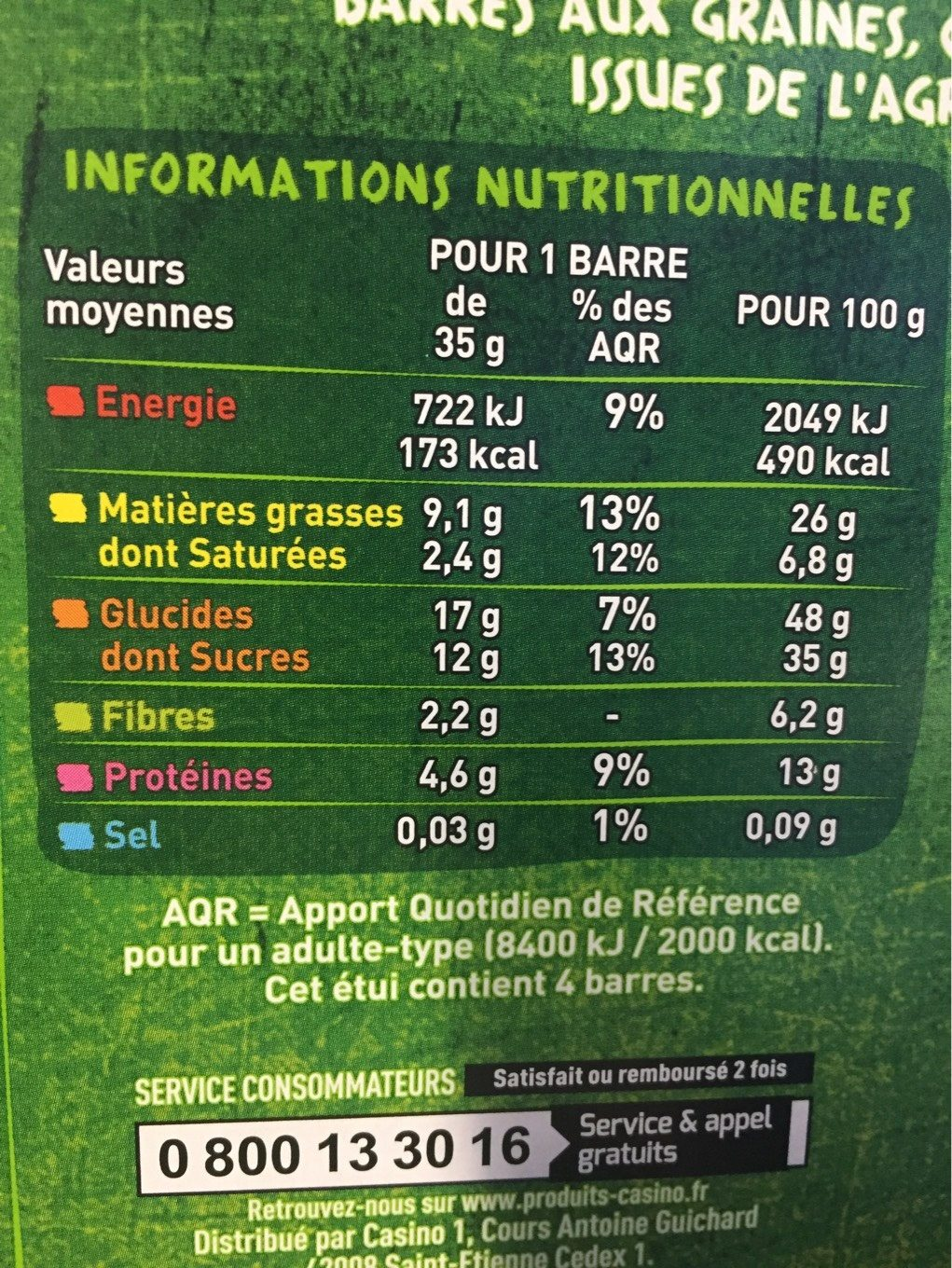 Barres Cranberry chocolat noir Casino Bio - Nutrition facts
