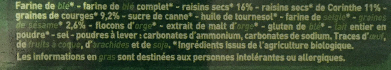 Biscuits raisins, graines de courge, sésame - Ingrediënten - fr