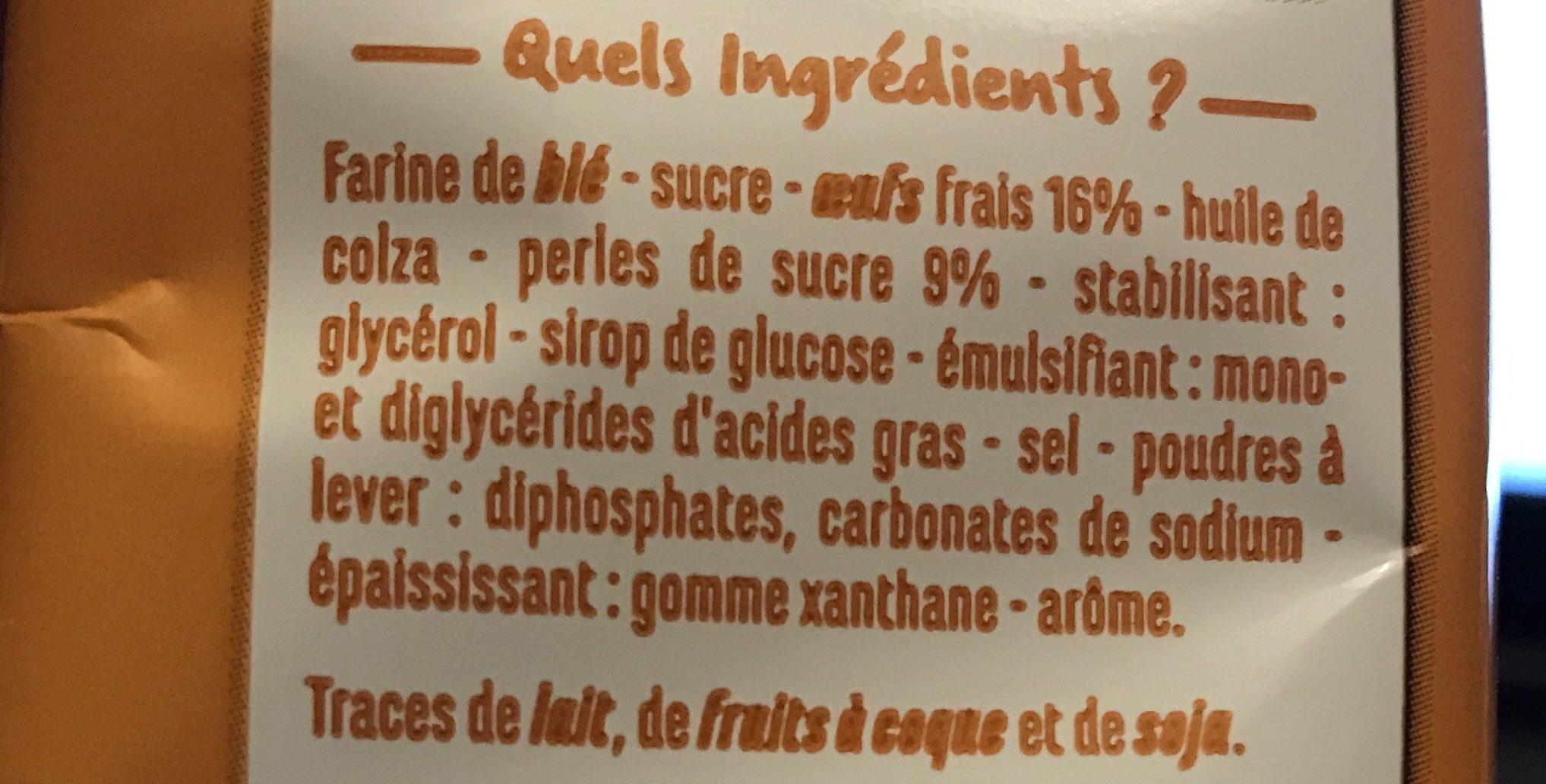 Madeleines Longues aux Perles de Sucre - Ingredients