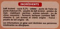 Gourdes de yaourt - 3 fraise - abricot - Ingrediënten - fr